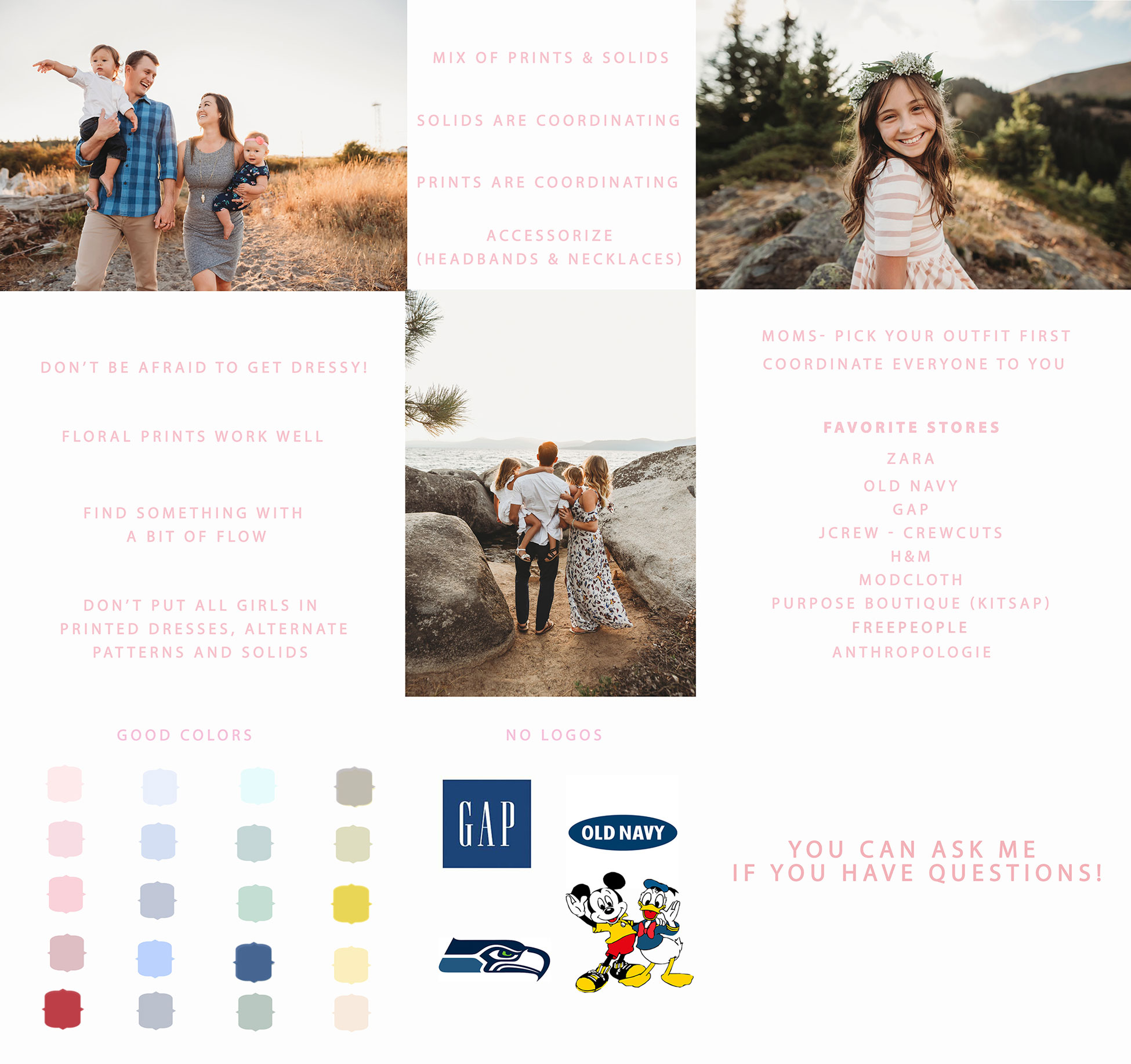 outfit ideas for seattle family photography session